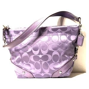 New Coach Carly Purple Signature Sateen Mini Satch